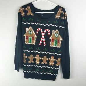 Rue 21 Christmas Sweater M Gingerbread Candycanes